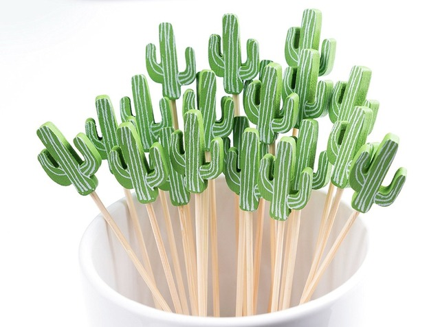 Free Shipping - Party Wedding Bar Supplies, Disposable Tableware, 120mm Cocktail Green Cactus Bamboo Pick Fruit Skewer, 100/Pack