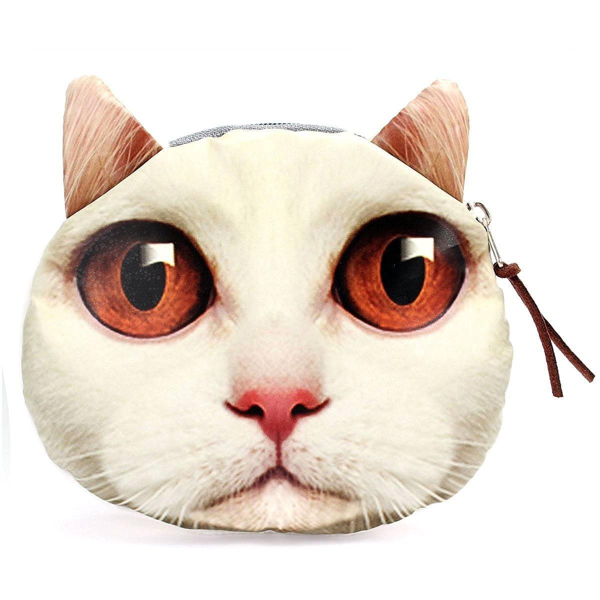 5) TEXU cute Cat face Coin Purse Zip Change Purse Wallet Kids Girl Women For Gift