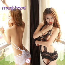 Sexy Lace Temptation Lingerie Sling Hollow Open Breast Dress Female Teddy Bear  Exotic Apparel Meethope