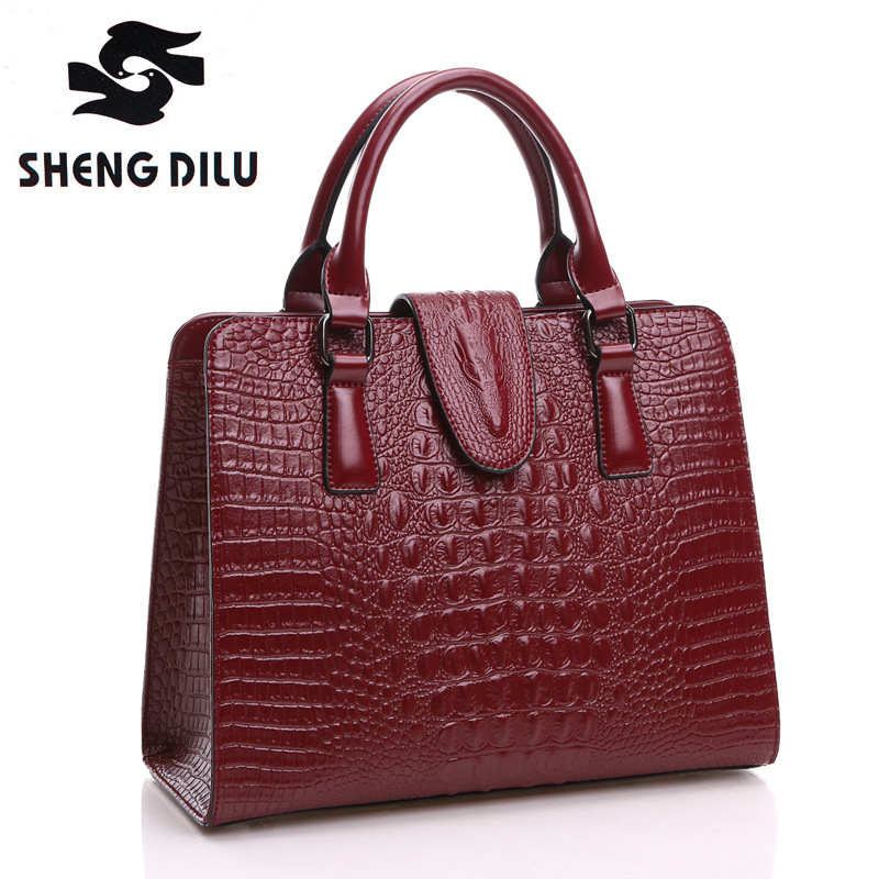 Vintage Women Genuine Leather Contracted Messenger Bags Solid Handbag Crocodile Pattern Embossing Tote Fashion Womens Handbags