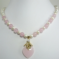 Free Shipping Pretty 7 8mm Mixed White Pearl Pink Jade Bead Heart Jade Pendant Necklace