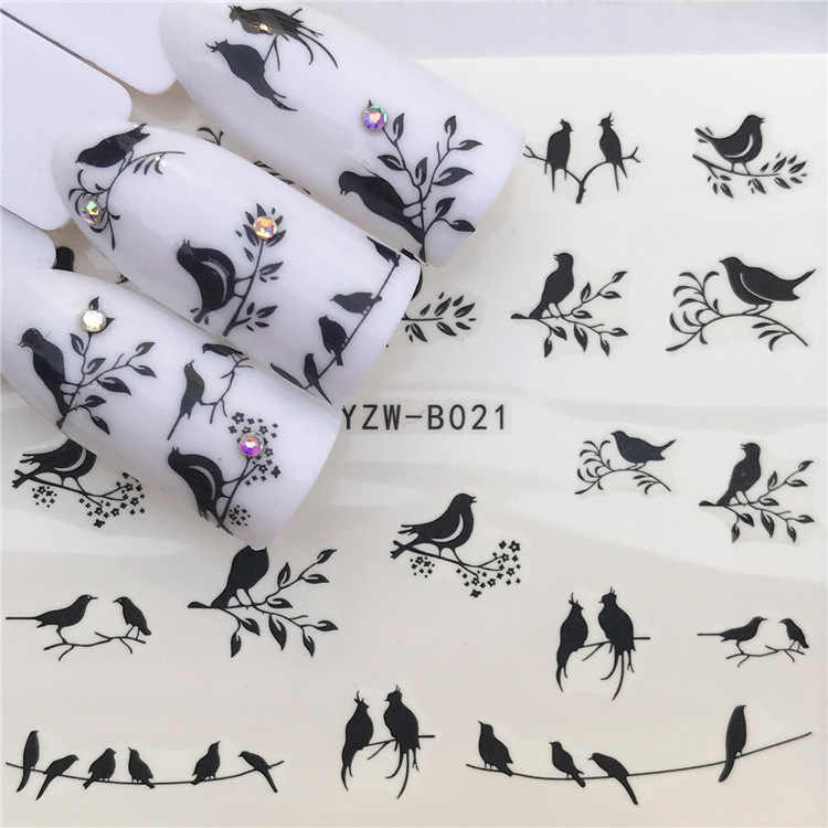 Nail Sticker Water Decals Geometry bird cat for Nails Art design Decorations Pegatinas Slider Adhesive Tips Manicure Wraps Foil