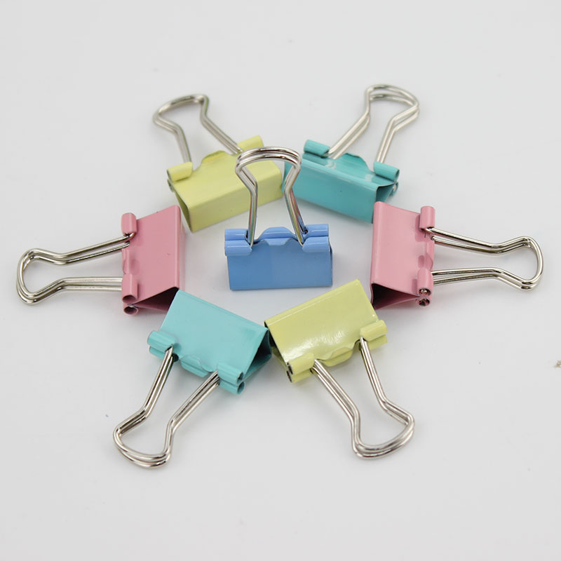 Dynamic 60pcs Colorful Metal Binder Clips Paper Clip Office Learning Supplies 15mm Clips