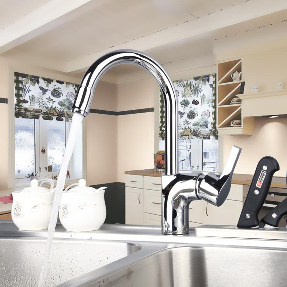 Torayvino Special Feature Kitchen Faucet Chrome Polished Deck Mounted Single Handle Hot Cold Water Mixer Kitchen Faucet torayvino style kitchen faucet chrome polished deck mounted single handle hot cold water beautiful eminent kitchen faucet