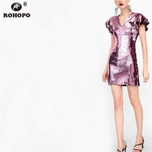 ROHOPO Double Layers Women Sequined Pink Dress V Collar Butterfly Sleeve Sexy Party High Waist Glitter Vestido #UK8670