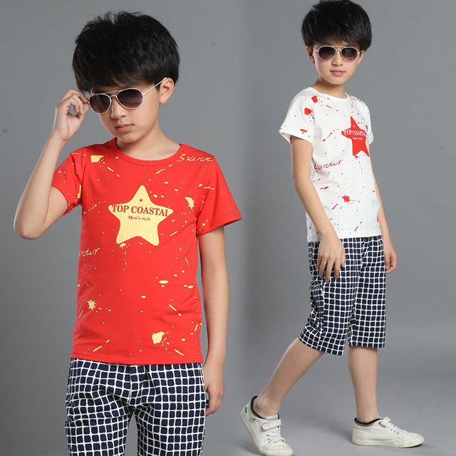 32bbf8ee9f99 Children Summer New Star Suite Kids Sports Wear Cotton Short Sleeved T Shirt  +pants Suit 2pc Boys Girl Sets 4-14 Ages