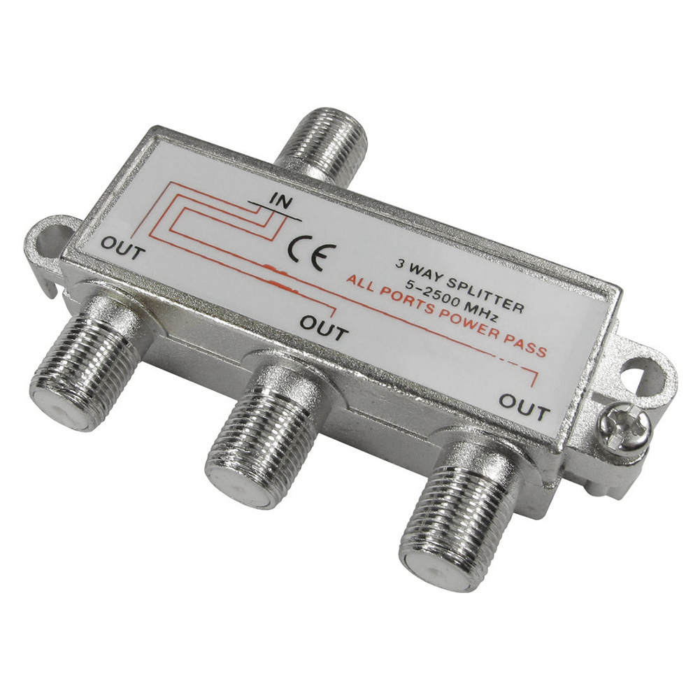 CLCU 3 Way F Plug Splitter 1 Into 3 Out Satellite Sky Signal Splitter