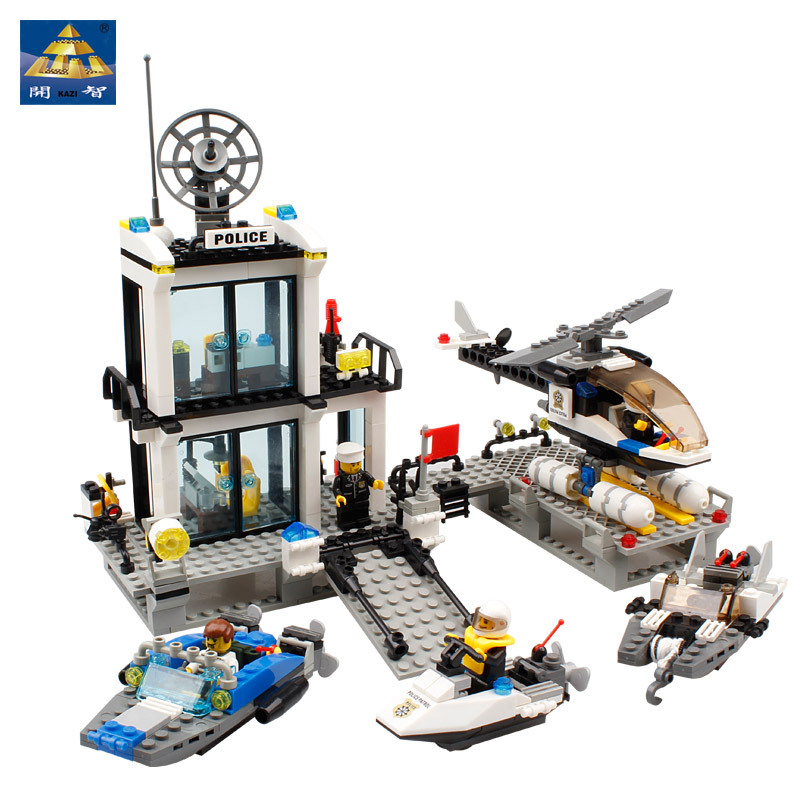 KAZI 6726 Police Station Building Blocks Helicopter Boat Model Bricks Toys Compatible famous brand brinquedos Birthday Gift lepin 631pcs city police station kazi 6725 building blocks action figure baby toys children building bricks brinquedos kid gift