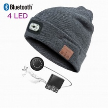 Bluetooth Headphone Sports Rechargeable Wireless with Mic 4-High-Brightness Cap Beanie-Hat