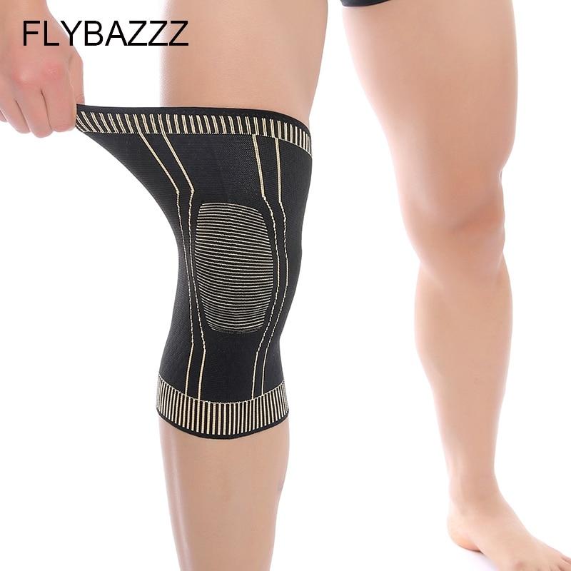 FLYBAZZZ Neue Prozess Kupfer Ionen Knie Pad Non-slip Antibakterielle Automaticlly Locking Rand Fitness Laufen Radfahren Knie Unterstützung