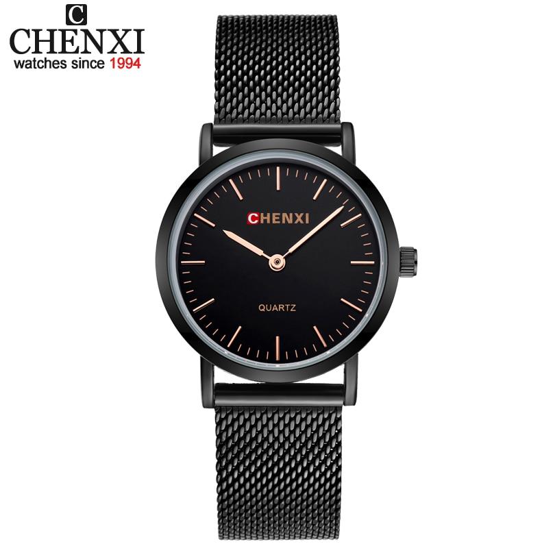 CHENXI Women Wrist Watches Black MILAN Street Snap Female Jewelry Bracelet Quartz Clock Lady Luxury Wristwatch Relogio Feminino