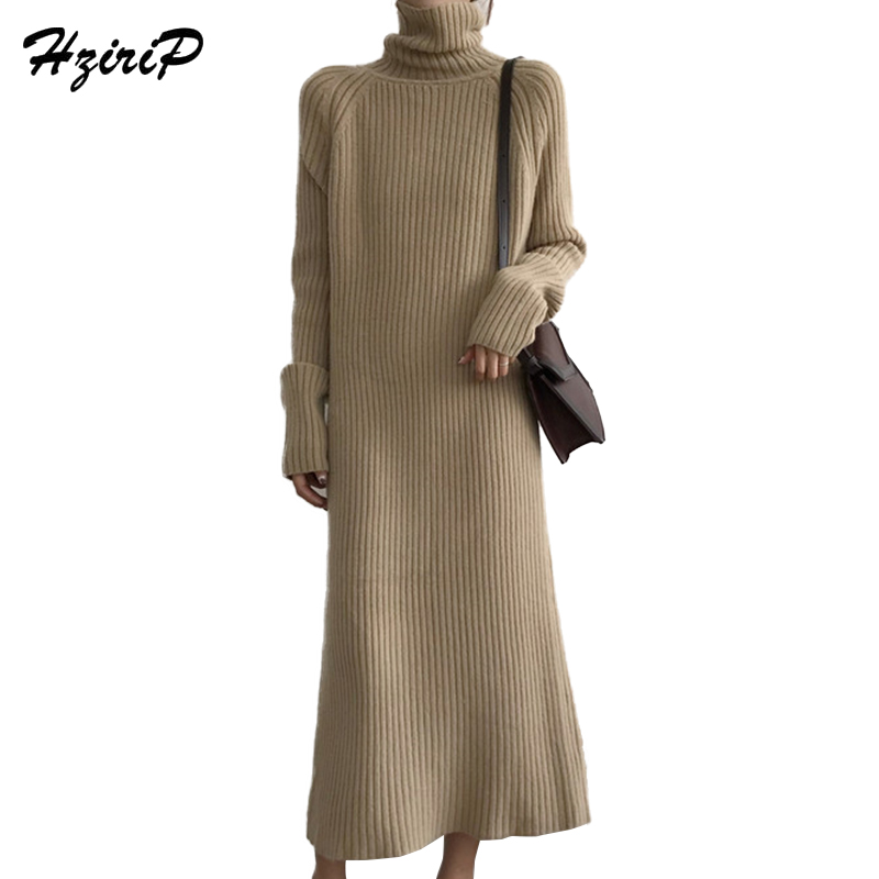 HziriP Winter Turtleneck Knitted Sweater Dress Women 2018 New Spring Office Work Long Sleeve Maxi Pullover Straight Dress Robe women turtleneck front pocket sweater dress