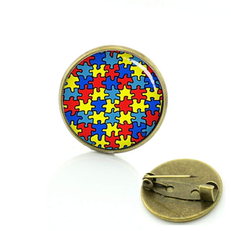 Autism heart brooches pins fashion color autism Puzzle Pieces badge exquisite mosaic men women yoga Mandala charms jewelry T525