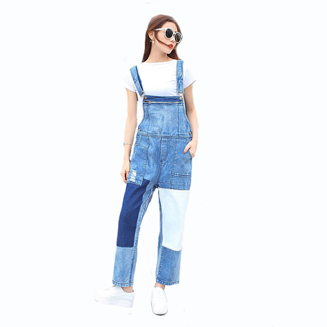 2017 New Denim Romper Women Fashion Causal Loose Pocket Full Length Frayed Female Patchwork Jumpsuit Pants Wash Jeans Bodysuit