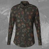 2017 Mężczyzn jesień zima nowy wydrukowano z długim rękawem koszulka męska slim Anglia style floral shirt fashion casual marka projekt jakości