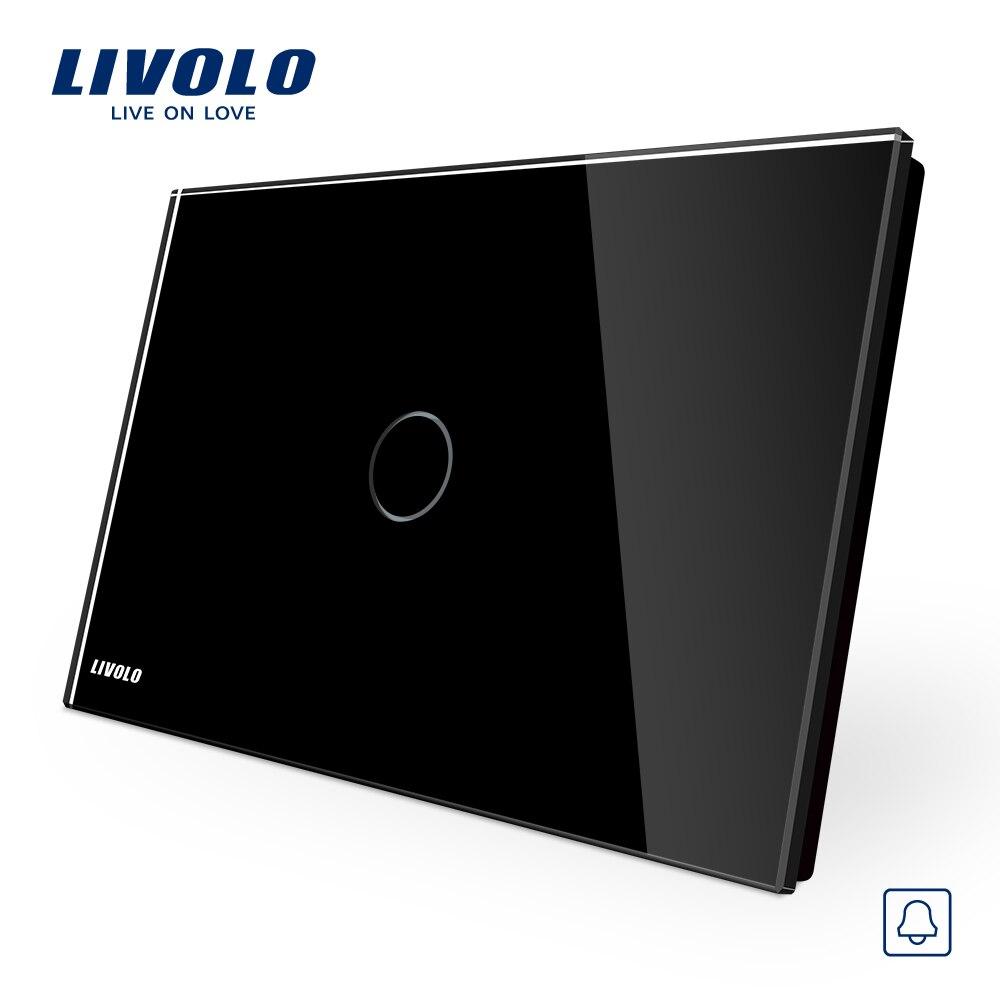 Touch Switch, Livolo Black Crystal Glass Panel, Doorbell  Switch  AU/US Standard VL-C901B-12, AC110~250V, LED indicator