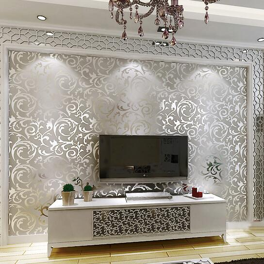 Silver Luxury Wallpaper Home Decor Modern Wall Coverings 10M Roll Metallic Vinyl Glitter Gold Foil Wall Paper