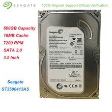 Оригинальный Seagate 500 Гб 3,5 дюймов внутренний жесткий диск 7200 об./мин. SATA 2,0 16 Мб кэш мониторинга HDD для настольных ПК