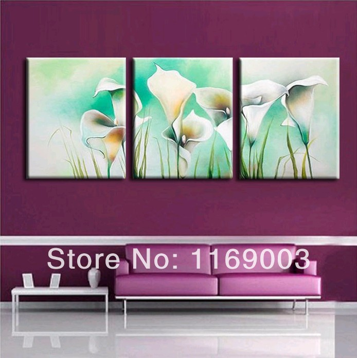 Abstract 3 panel canvas modern wall art deco watercolor Chinese cheap white calla lily oil painting canvas for home decoration