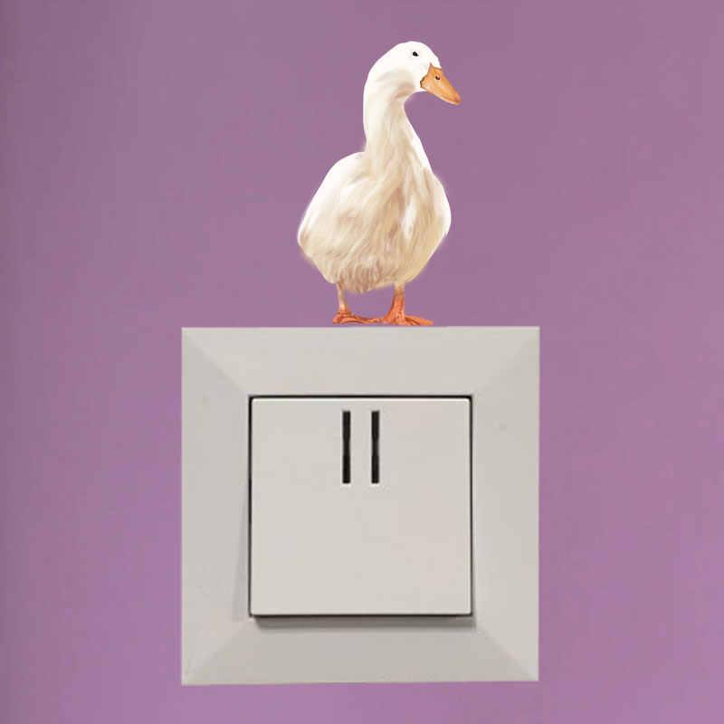 YOJA Karikatür El-boyalı Beyaz Kaz Dekor elektrik düğmesi çıkartması Duvar Odası Yatak Odası Renkli Çıkartmaları 8SS0906
