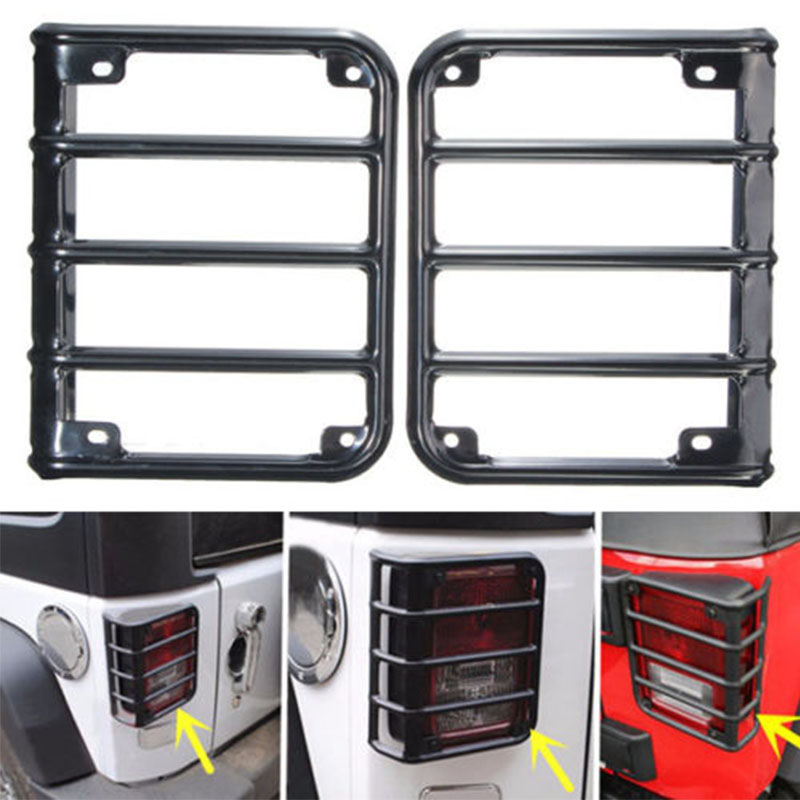 Accessories Parts Black Steel Metal Tail Light Guard Protector Cover Set For Jeep Wrangler Rubicon Sahara JK 2007~2016 1 pc j208 abs plastic front matte black grille hood protector for 2007 2017 jeep wrangler jk rubicon sahara sport