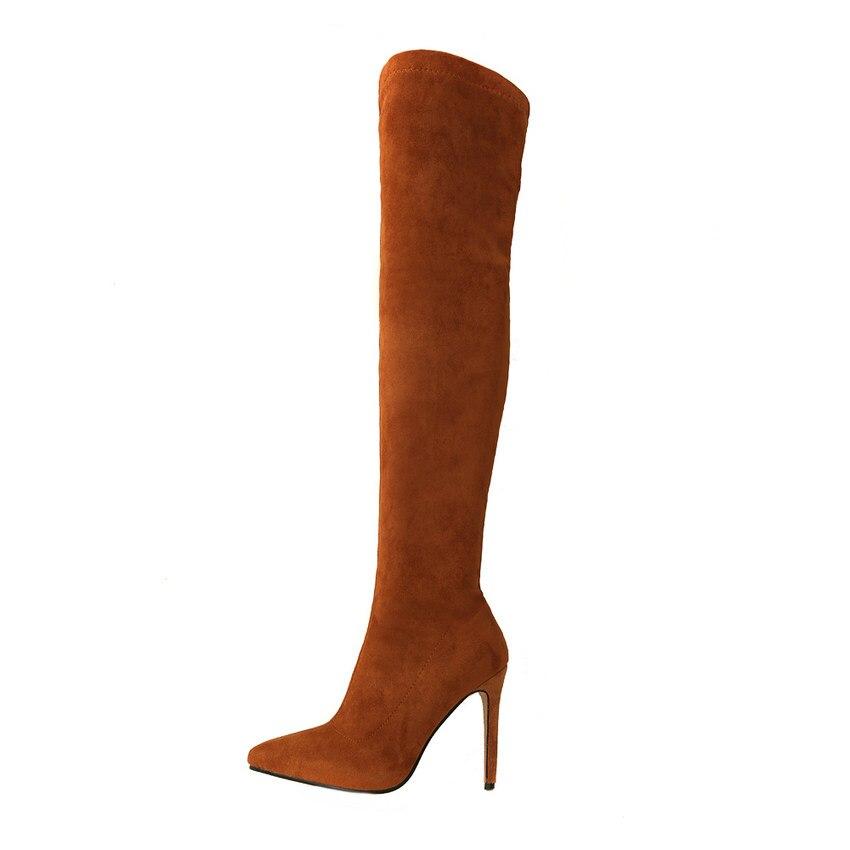 Grande Bottes Femmes À Noir Tous 34 marron 43 Taille 2019 Match Sexy Genou Le D'hiver Qutaa Hauts Les rouge Sur Haut Chaussures Mince Talons 8qCTwWY5