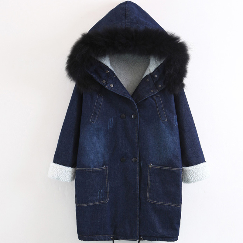 Winter Coat Women Denim Jackets Faux Fur Collar Hooded Thick Warm Outerwear Casual Long Cotton Padded Female Jeans Parkas Denim