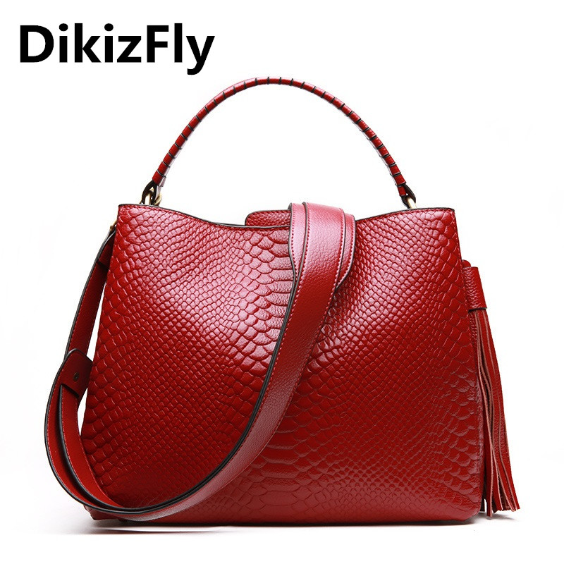 DikizFly Alligator Genuine Leather Bags Ladies Real Leather Women Messenger Bags Women Handbags Casual Tote Female Fashion bolsa dikizfly soft genuine leather women handbags casual totes bag real leather brand work handbag purse elegant messenger bags bolsa