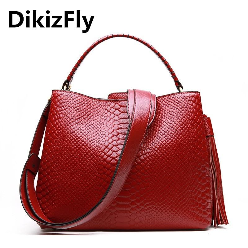 DikizFly Alligator Genuine Leather Bags Ladies Real Leather Women Messenger Bags Women Handbags Casual Tote Female Fashion bolsa