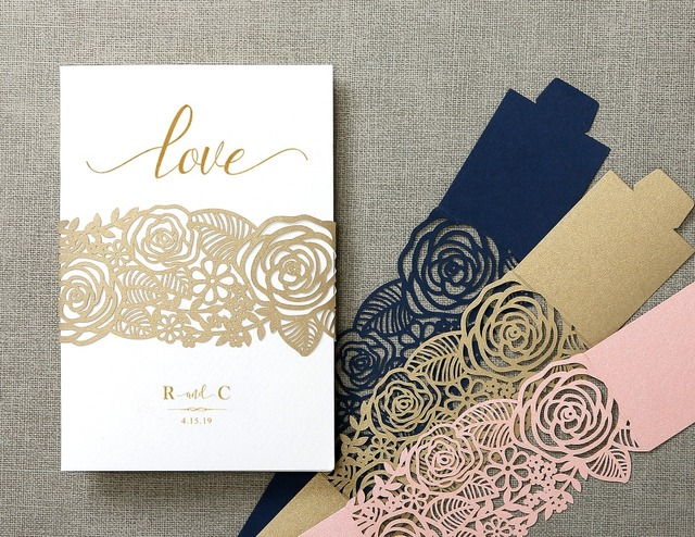 floral laser cut belly band,wedding decor,Elegant invitation cards