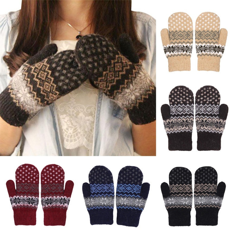 Knit Wool Women Girl Snowflake Winter Keep Warm Mittens Gloves Most Forefront