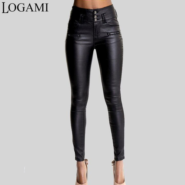 8e47233ebed6 LOGAMI Women Pu Leather Pants Black Sexy Stretch Bodycon Trousers Women  High Waist Long Pants