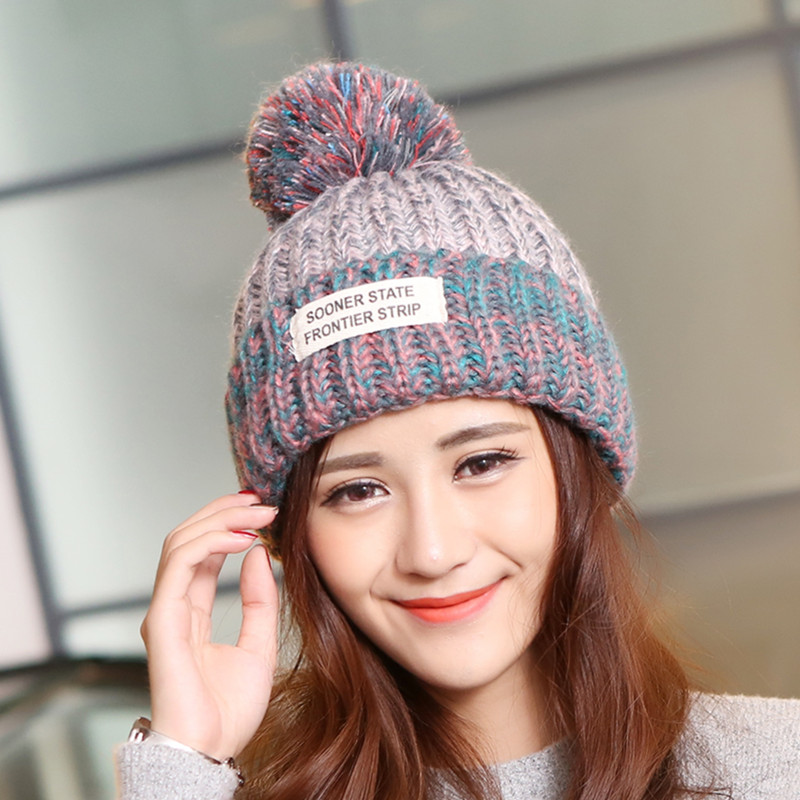 Winter For Women Knitted Acrylic Hats Mix Colors Skullies And Beanies Knit Big Pompom Caps Female  Fashion Wool Warm Winter skullies