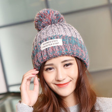 Winter For Women Knitted Acrylic Hats Mix Colors Skullies And Beanies Knit Big Pompom Caps Female  Fashion Wool Warm Winter
