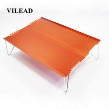 VILEAD портативный мини складной стол для кемпинга, пляжный туризм, для пикника, путешествия, 7075 алюминий, Сверхлегкий, водонепроницаемый, складной, 35*25*10 см