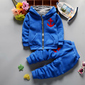 Новая Мода мальчик одежда Детская одежда устанавливает С Длинным Рукавом Молнии с капюшоном мальчиков Толстовки и брюки хлопок детская Одежда флис