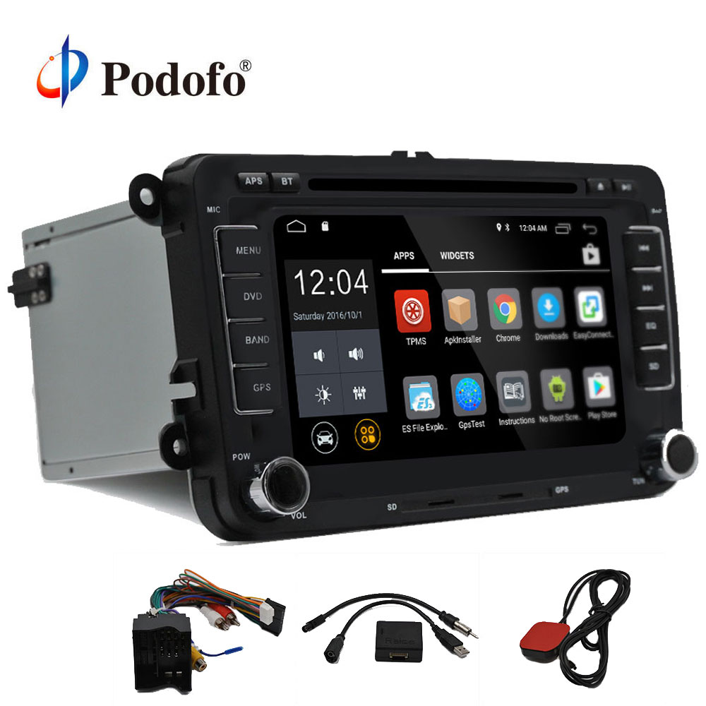 Podofo Deux Din Voiture Lecteur Multimédia Android 7.1 Auto Radio Pour Volkswagen/VW/Passat b7Jetta/GOLF 5 6 DVD Lecteur GPS Audio Radio