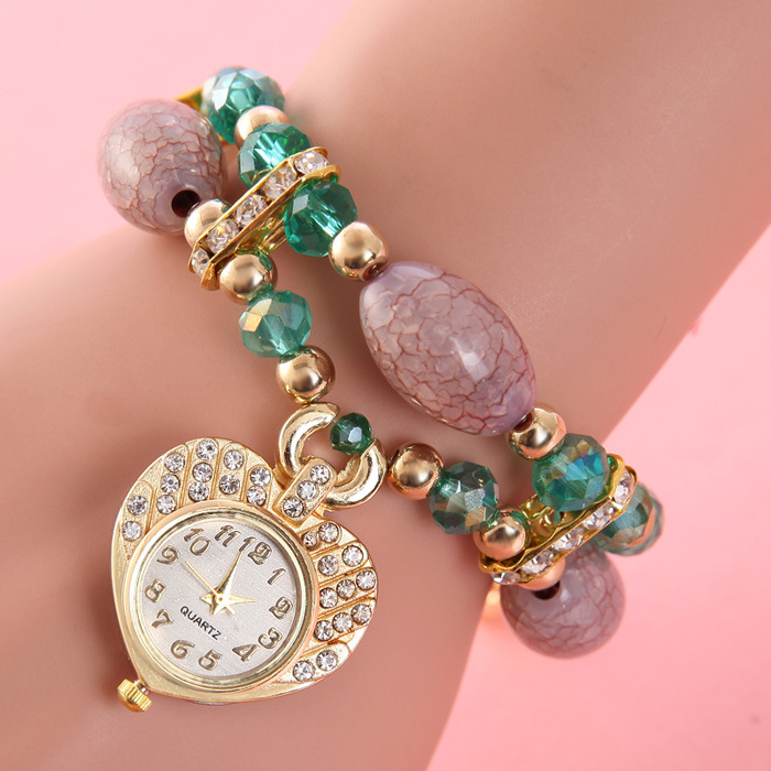 High Grade Ladies Bracelet Watch Rhinestone Heart-shaped Pendant Quartz Wristwatches Women Gem Beads Strap Relogios rhinestone angel wings heart bracelet