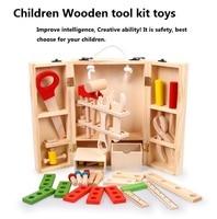 Caja de herramientas de madera del bebé de inteligencia y de Madera Niños creativos Multifunción Conjunto de Herramientas de Mantenimiento Del Bebé Caja de Regalo de Combinación de Tuerca
