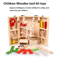 Wooden toolbox baby intelligence and creative Kids Wooden Multifunctional Tool Set Maintenance Box Baby Nut Combination Gift