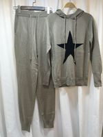 2017 Promotion New Cashmere Tracksuits Spring Women's Wool Knit Set Star Pattern Hooded Sweater + Knitted Long Pants 2pcs