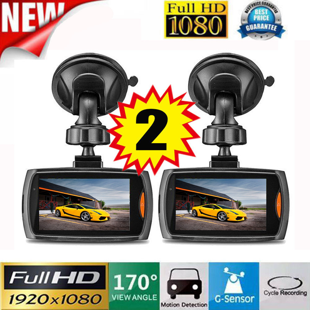 "2x Car 1080P 2.2"" Full HD DVR 170 degree super wide angle lens Vehicle Camera Dash Cam Video Recorder G sensor Night Vision"