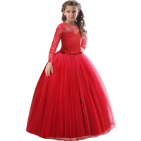 Girls Lace Full Sleeve Princess Dress Kids First Communion Dresses For Girls Tulle Lace Wedding Costume Junior Children Clothes