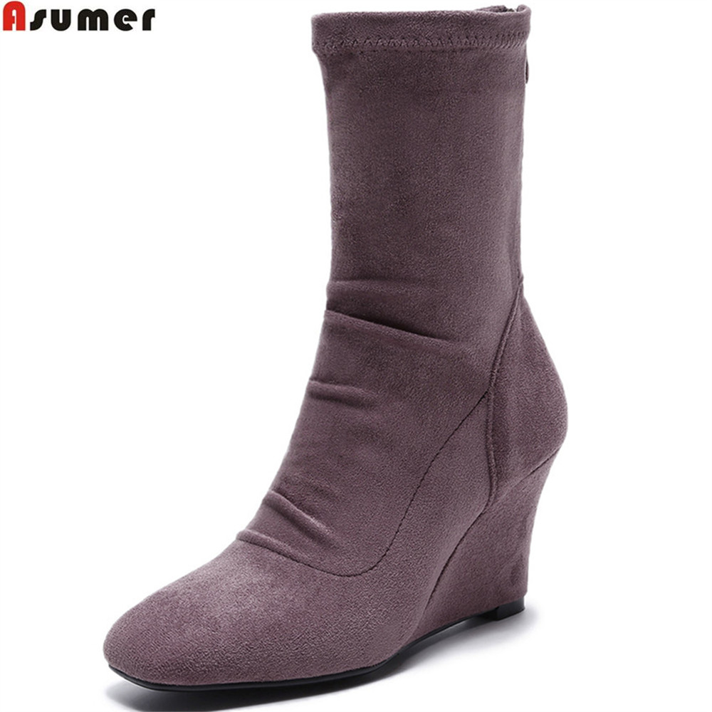 ASUMER 2018 fashion women boots square toe ladies kid suede boots wedges zipper sexy leather ankle boots black gray paulmann 92 541