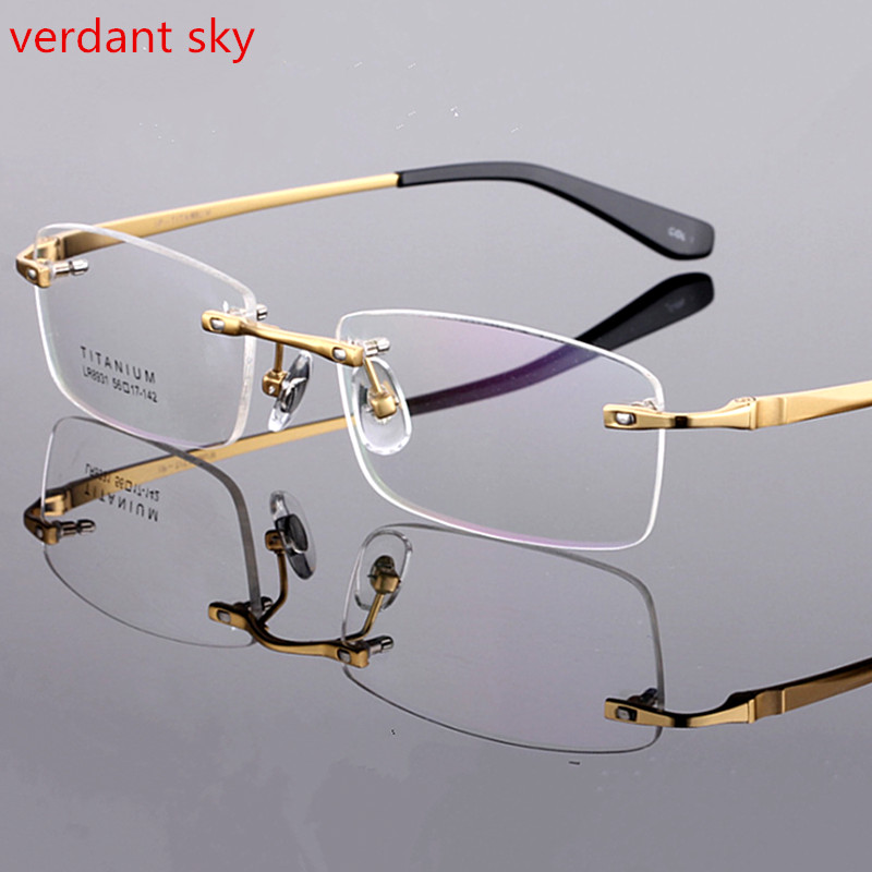 No frame High-grade luxury titanium Business rimless glasses frames Wide big face man Optical myopia reading Armacao de oculos
