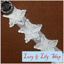 8CM delicate polyester double layer 3d lace trim embroidered chemical lace leaves design v