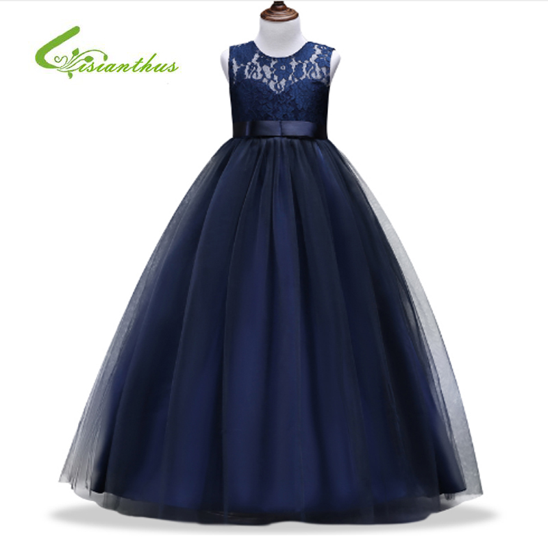 New Kids Girls Wedding Flower Lace Girl Dress Princess Party Pageant Formal Dress Sleeveless Dress Girls Clothes 3-14 year wear kids dresses for girls lace flower girl dress 2017 new princess party wedding dress fashion baby formal evening children clothes