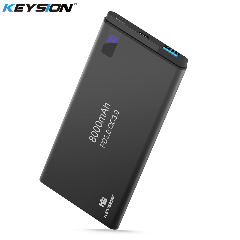 KEYSION 2 Port PD Schnelle Ladung Power Bank 8000 mah QC 3,0 2,0 Schnell Lade Tragbare Metall Batterie Power für iPhone X 8 8 Plus