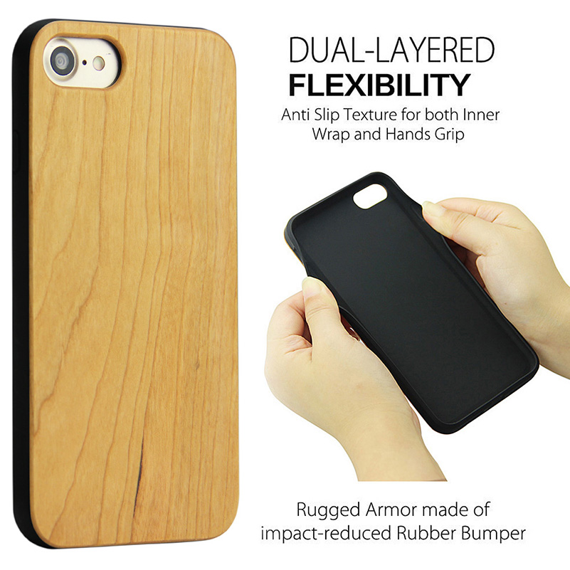 Wood Phone Cases For iPhone 7 Case 8 Natural Bamboo Wooden 5