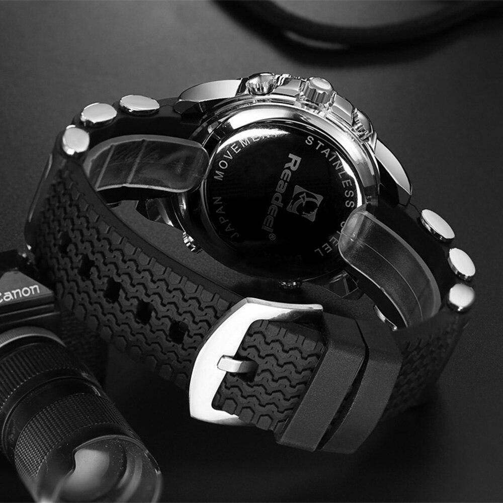 Montres de luxe pour hommes. Montre à Quartz numérique à LED en caoutchouc pour hommes. Montre-bracelet militaire sport pour hommes. erkek kol saati 5